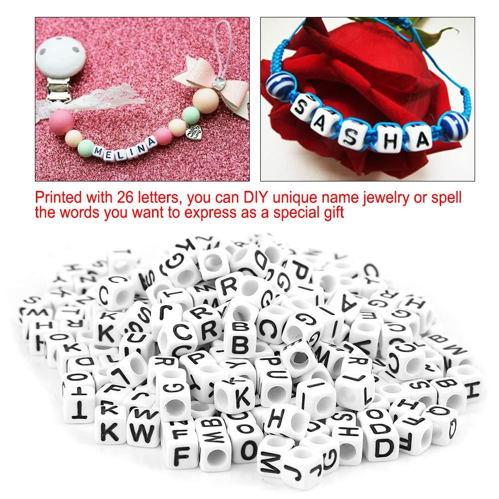 300Pcs White Acrylic Single Letter Cube Beads A-Z DIY Alphabet Beads for Jewelry Making,DIY Bracelets Necklaces