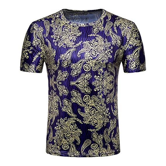 8315e0892299 Vodool Folk Men 3D Floral Print Fit O Neck Casual Short Sleeve T-Shirts( Purple L)  Amazon.in  Clothing   Accessories