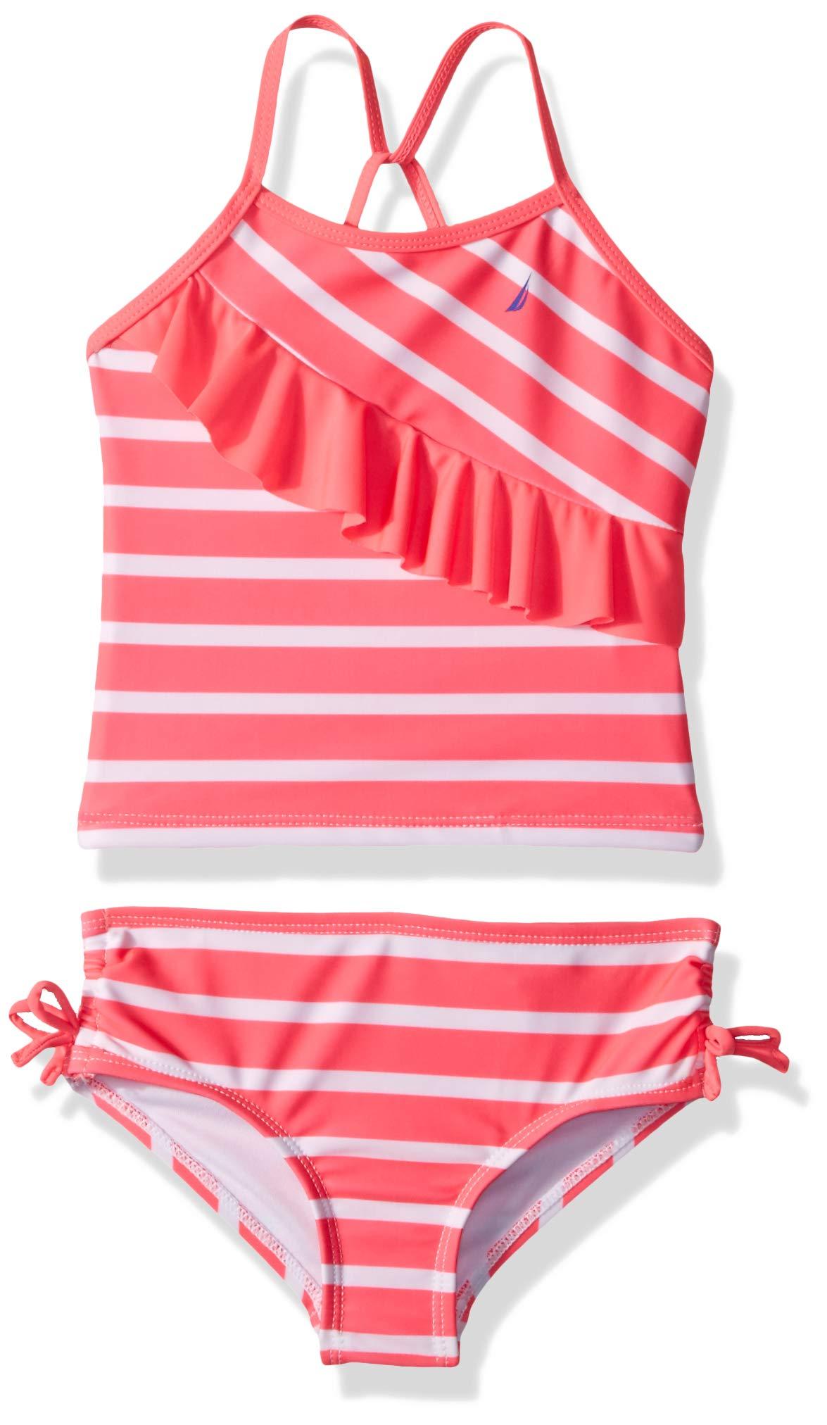 Nautica Little Girls' Tankini Swim Suit, Stripe neon Pink, 6 by Nautica (Image #1)