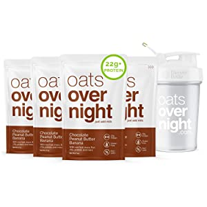 Oats Overnight - Chocolate Peanut Butter Banana (8 Pack PLUS BlenderBottle) High Protein, Low Sugar Breakfast - Gluten Free, High Fiber, Non GMO Oatmeal (2.7oz per pack)