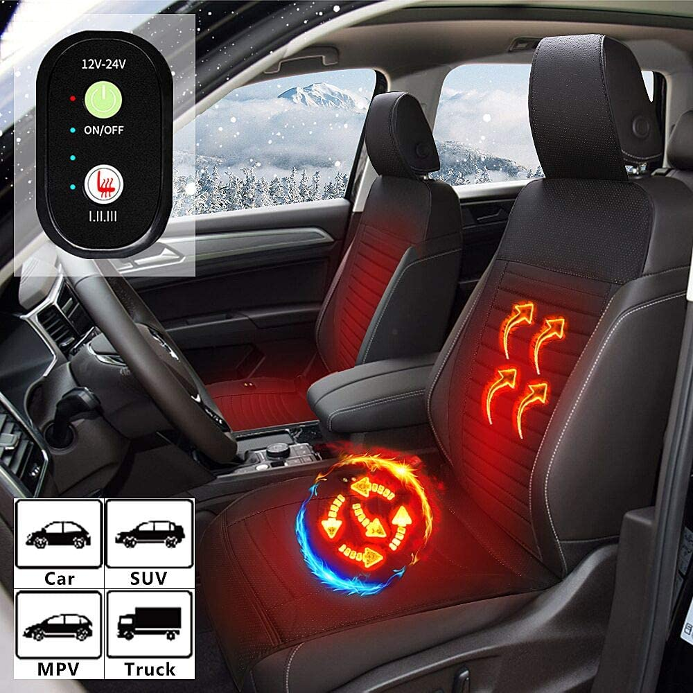 WARMITORY Heated Car Seat Cushion Covers- Universal Car Truck Leather Seat Heater with 3 Levels for Full Back and Seat Pads, Car Seat Warmer with Easy Controller for Winter Chair