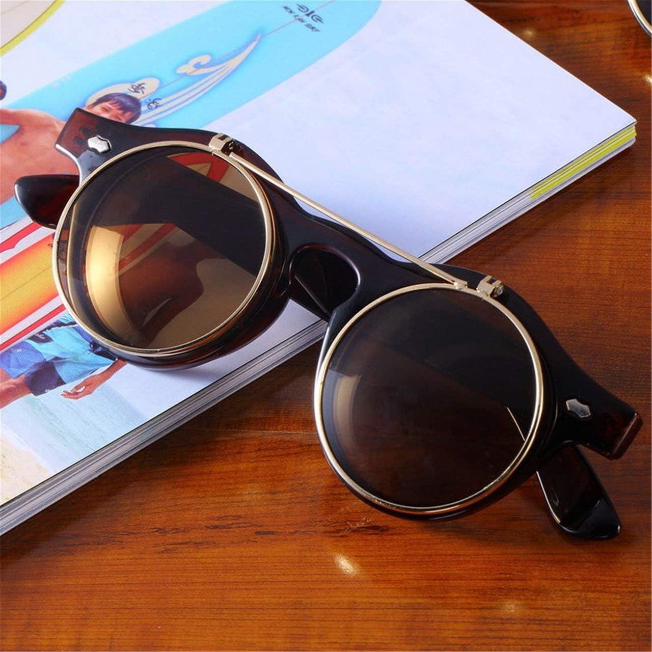 ESjasnyfall Gafas cl/ásicas Steampunk Goth Gafas Gafas de sol redondas plegables Retro Accesorios de moda vintage Tendencia de moda Gafas redondas Tawny