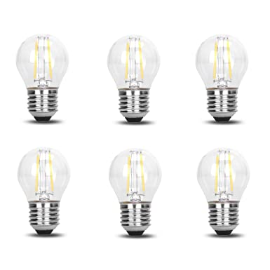 6 Pack DC 12V Retro Industrial Cool White 6000k 2 Watt LED Edison Filament G45 Light Bulb E26 E27 Medium Base Lamp Low Voltage String Pendant Outdoor ...