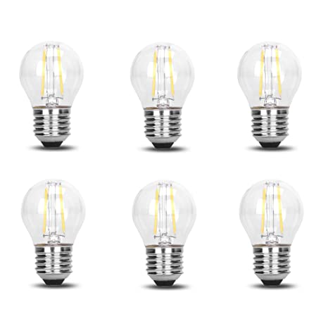 6 Pack DC 12V Retro Industrial Cool White 6000k 2 Watt LED Edison Filament G45 Light Bulb E26 E27 ...