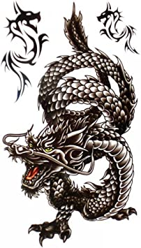 King Horse Cool waterproof and Black Dragon Tattoo sticker for men ...