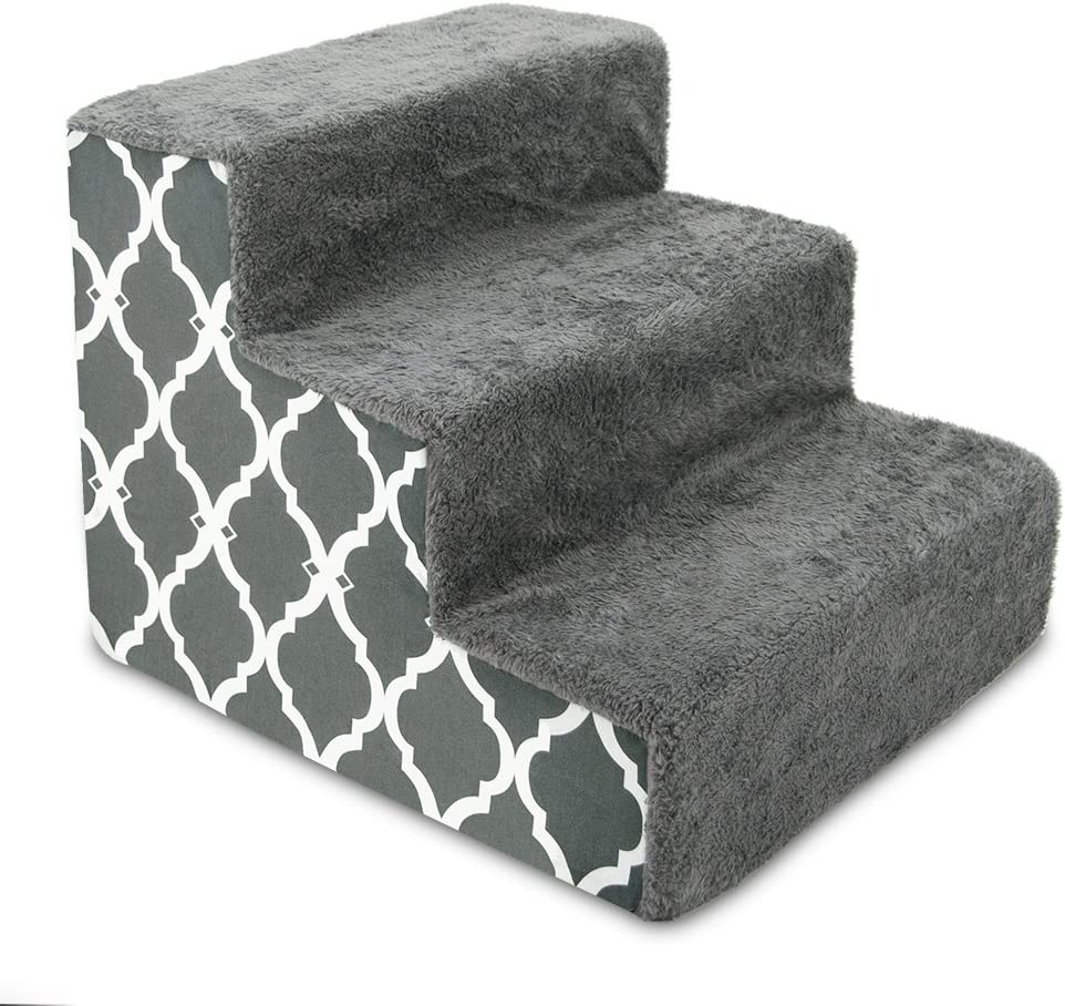 H: 13.5 Gray Lattice Print 3-Step USA Made Pet Steps//Stairs with CertiPUR-US Certified Foam for Dogs /& Cats by Best Pet Supplies