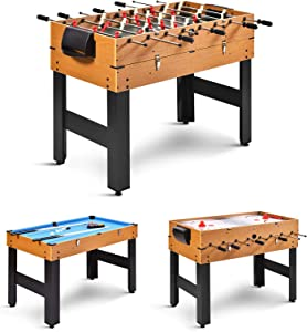 GYMAX 3 in 1 Game Table, 48 in Multi Game Table with Foosball Hockey & Billiards, Competition Sized Combo Game Table for Home, Game Room, Bar, Party, Club