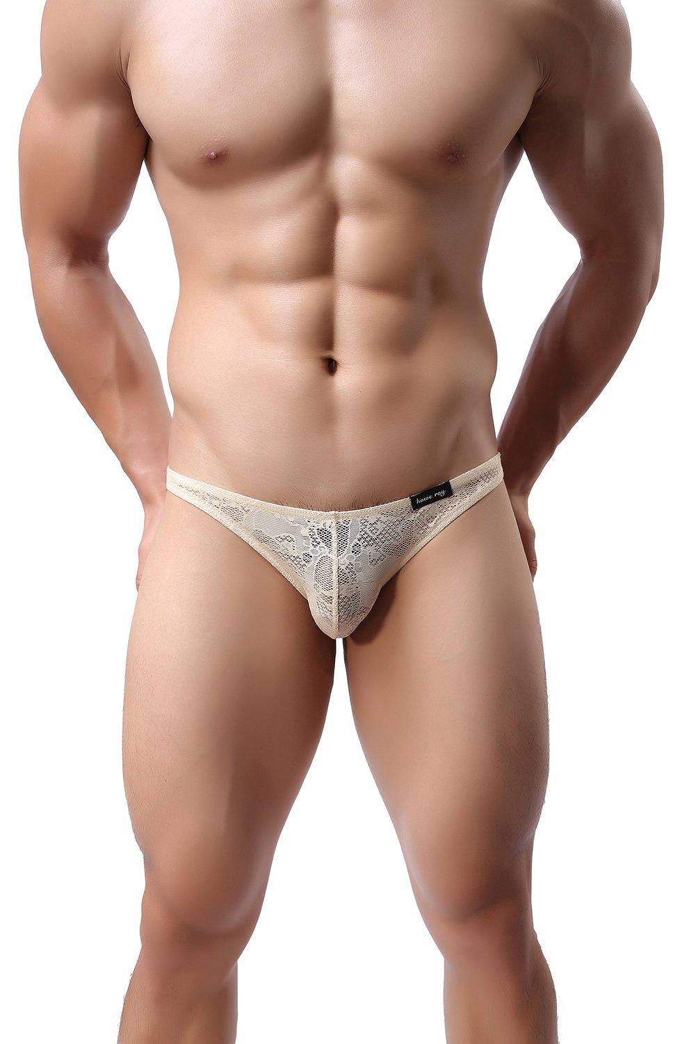 3 Pack Men Sexy Lace Briefs G-String Low Rise U Convex Underwear Bikinis,Natural,XL