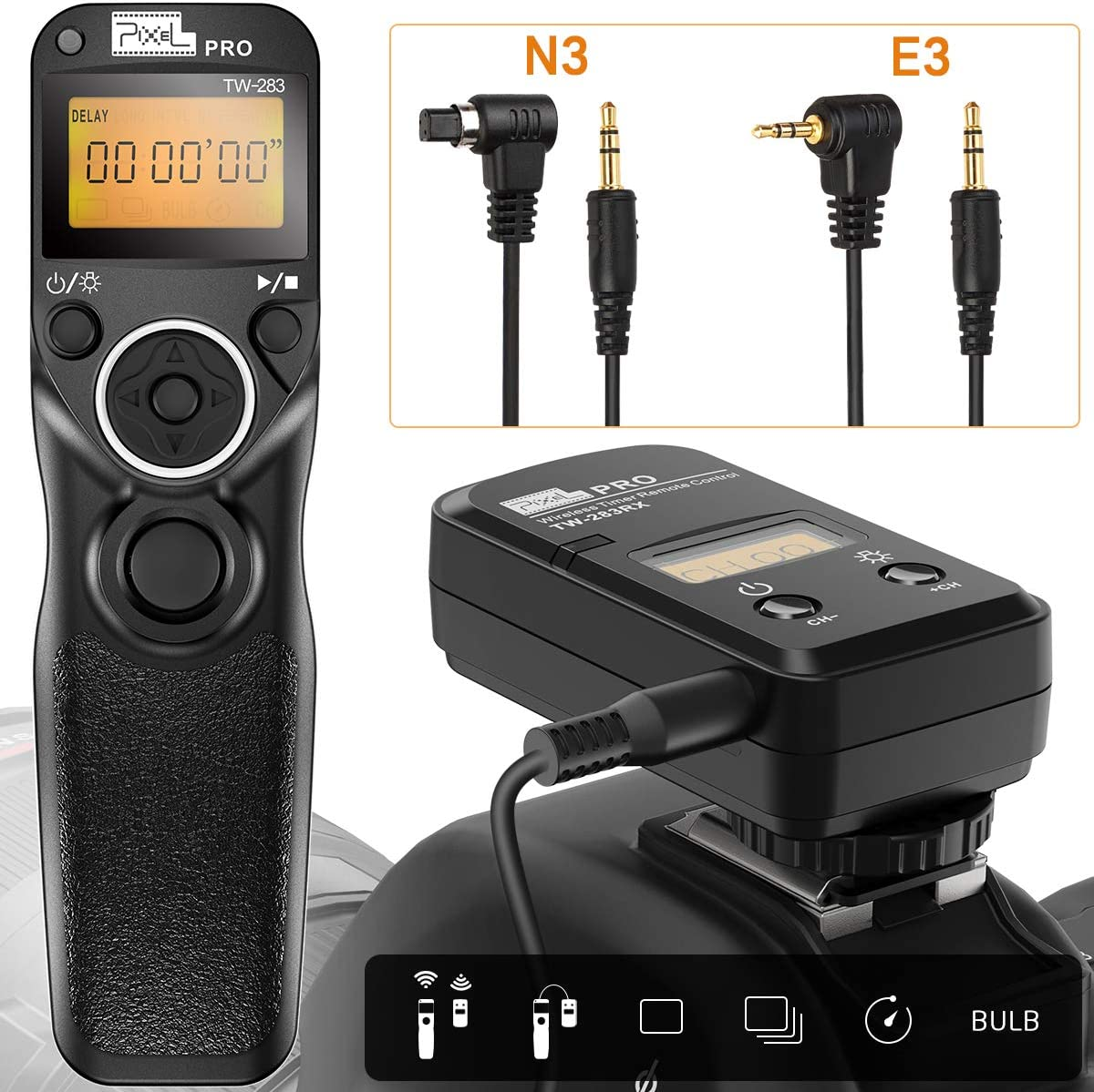 Wireless Shutter Release for Canon, Pixel TW283-N3/E3 Camera Remote Control for Canon EOS R, 5D seires 5D Mark 750D 1300D 7D Series 40D 30D 5D 70D 80D 60D, for Pentax K5 K20D