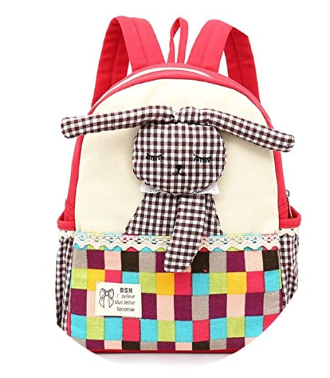 Sulida Bolso de escuela para niños Mochila de tela Niño Niña Conejo Rosa Niño pequeño Mochila
