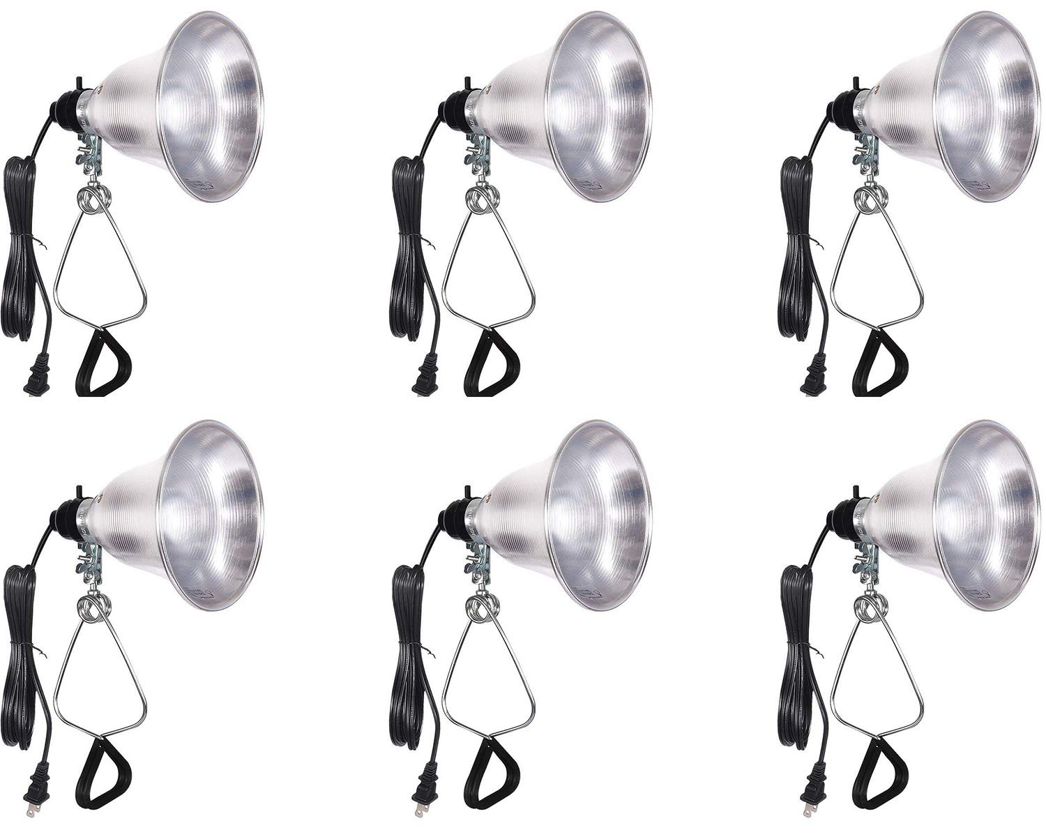 Simple Deluxe HIWKLTCLAMPLIGHTSX6 6-Pack Clamp Lamp Light with 5.5 Inch Aluminum Reflector up to 60 Watt E26/E27 (no Bulb Included) 6 Feet 18/2 SPT-2 Cord UL Listed by Simple Deluxe