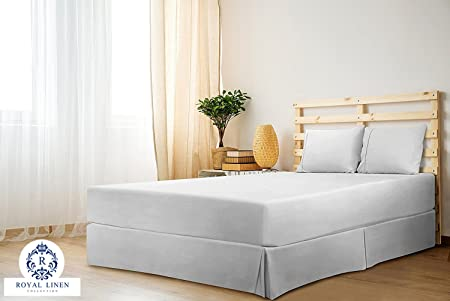 Royal Linen Collection Royal Linen Collection Hotel Quality 800tc Split Corner Bed Skirt 21 Drop Length 100% Natural Cotton Bedskirt Twin Size White Solid