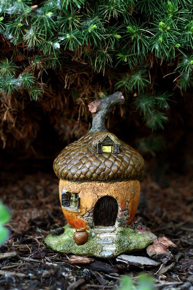 Top Collection Enchanted Story Garden and Terrarium Acorn Fairy House Outdoor Decor