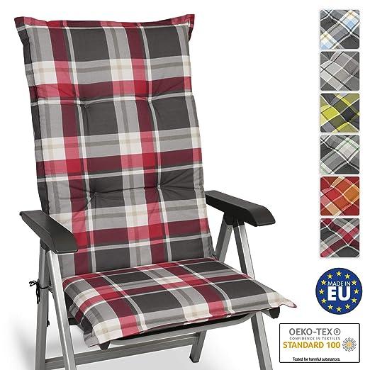 Beautissu Cojín para sillas de Exterior y jardín con Respaldo Alto Sunny RK Burdeos 120x50x6 cm tumbonas, mecedoras, Asientos cómodo Acolchado ...