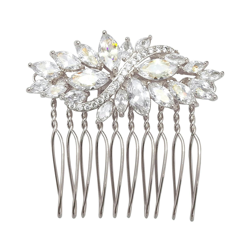 selovo mariage cheveux peignes feuilles clair argent oxyde de ton cheveux bijoux Hong Yi Co. Ltd. HTOU001-1