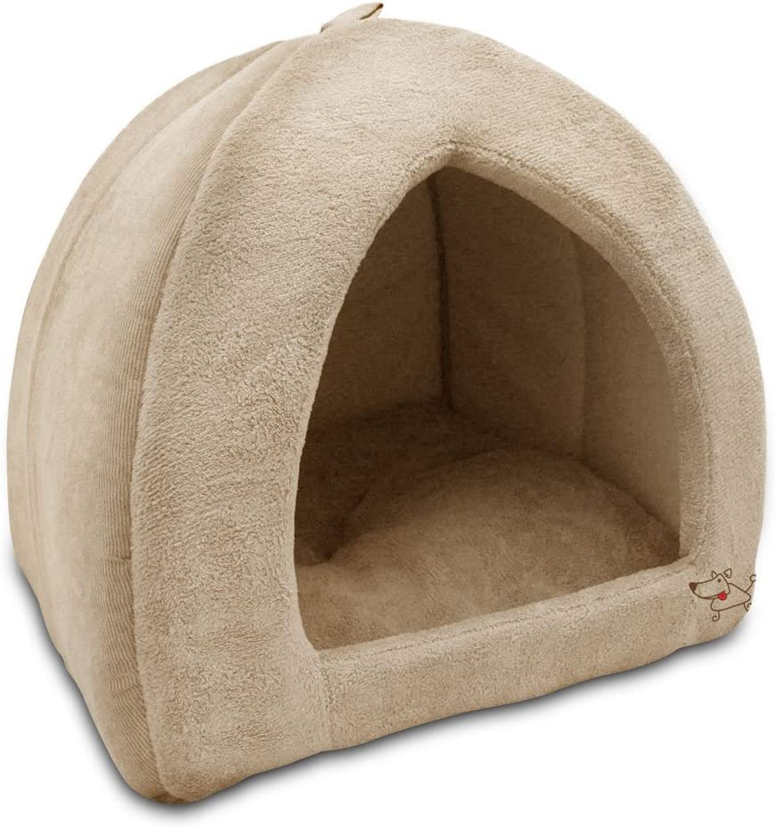 "Best Pet Supplies, Inc. Best Pet SuppliesPet Tent-Soft Bed for Dog & Cat, Inc. - Tan, 19"" x H: 19"" : Pet Supplies"