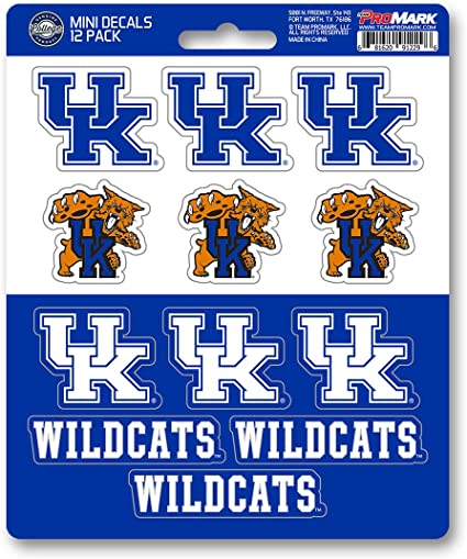One Size Team Color Promark NCAA Kentucky Wildcats Decal Set Mini 12 Pack