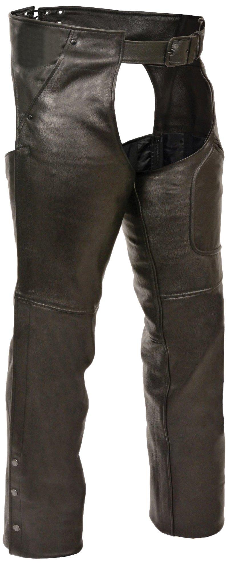 Milwaukee Premium Buffalo Deep Skin Leather 3 Pocket Chaps (Black, X-Small)