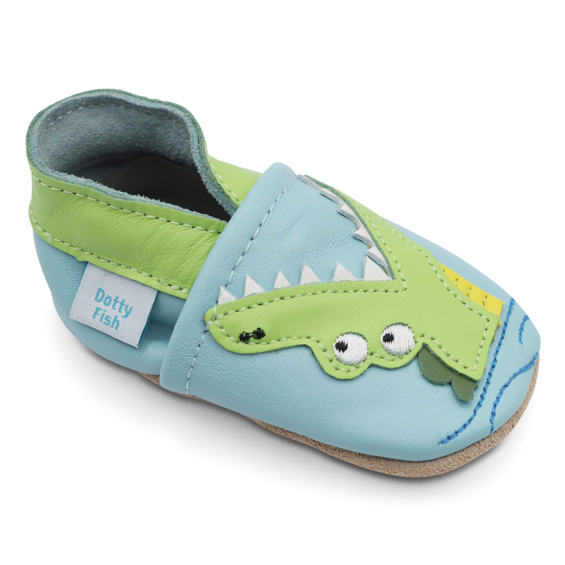Dotty Fish Soft Leather Boys Toddler Shoes. Green Crocodile. 2-3 Years (US8.5) by Dotty Fish