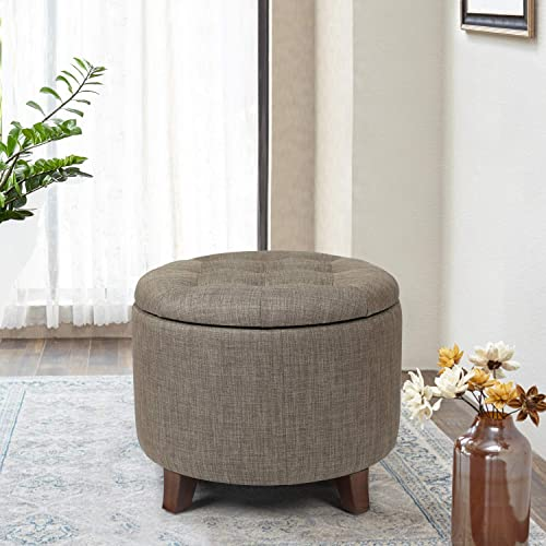 Joveco Fabric Round Button Tufted Taupe Tan Storage Ottoman Brown