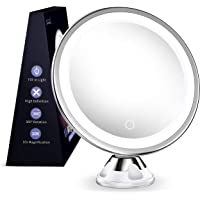 MTORED 10x Magnifying Lighted Makeup Mirror with 360° Rotation, Touch Sensor Control, Natural Daylight LED Light…