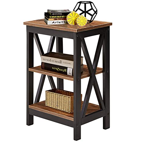 VECELO Modern Night Stand/Sofa Side/End Storage Shelf X-Design Versatile  Nightstands Lamp Table Living Room Bedroom Furniture,Easy Assembly, Brown