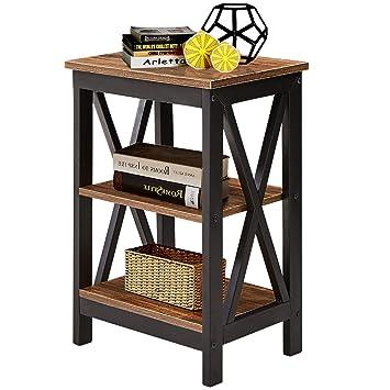Amazon.com: VECELO - Mesa de noche de madera moderna con ...