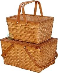 Vintiquewise(TM) Rectangle Handwoven Chipwood Basket - Set of 2