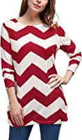 Allegra K Women's Chevron Pattern Long Sleeves Knitted Relax Fit Tunic Top