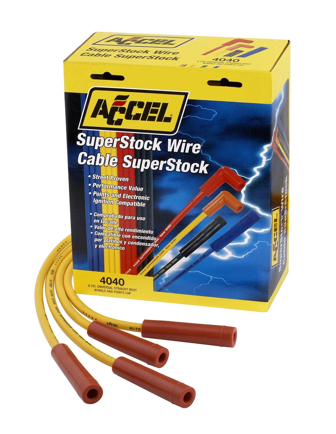ACCEL 4040 SuperStock 8mm 4000 Series Yellow Graphite Spark Plug Wire Set ACC 4040