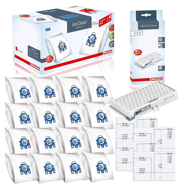 Miele Performance Pack 16 Type GN AirClean 3D Efficiency Genuine FilterBags + Genuine AH30 HEPA Filter + 4 Genuine Pre-Motor Protection Filters