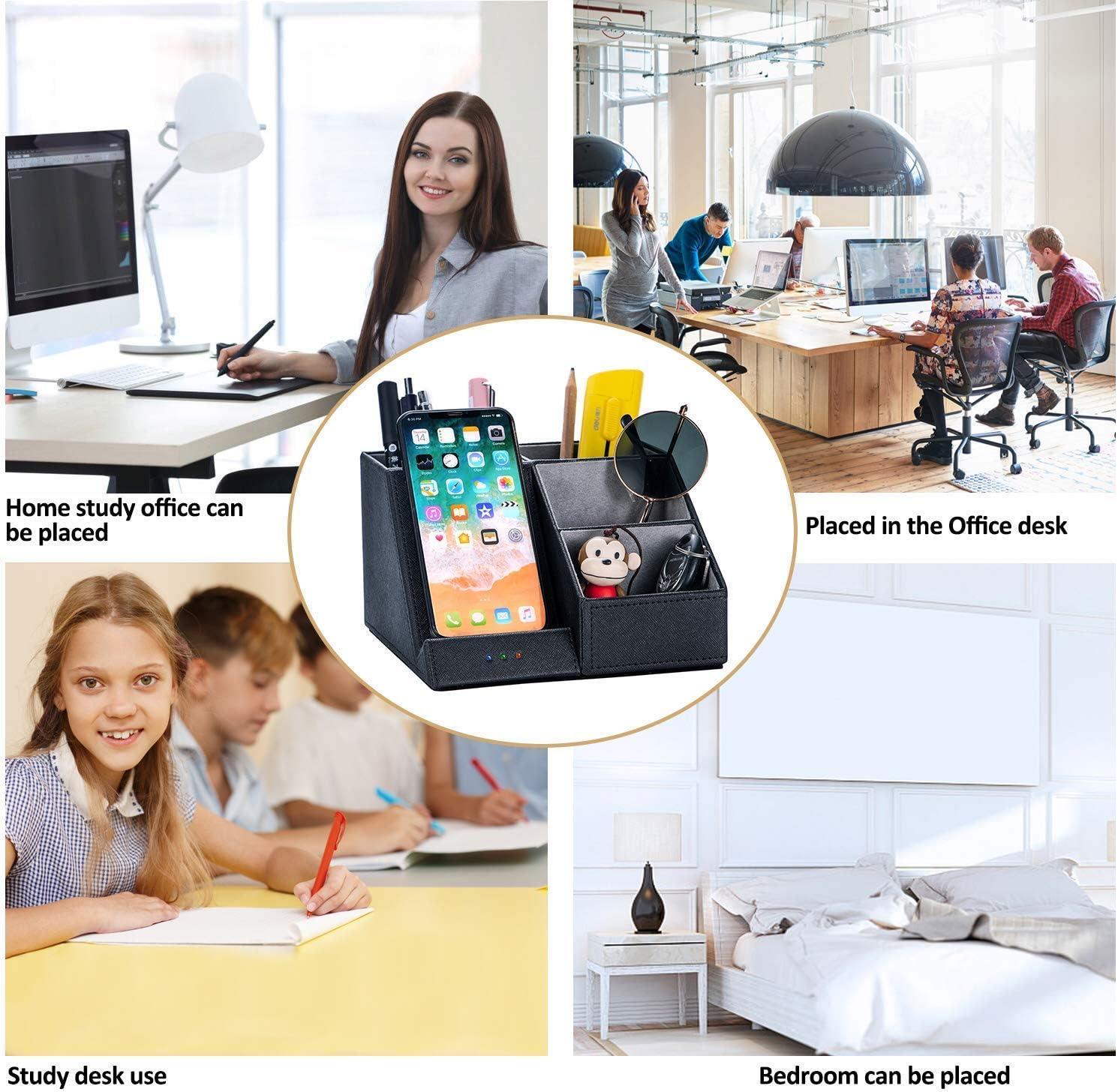 Schreibtisch-Organizer aus PU-Leder mit kabelloser Aufladung ?