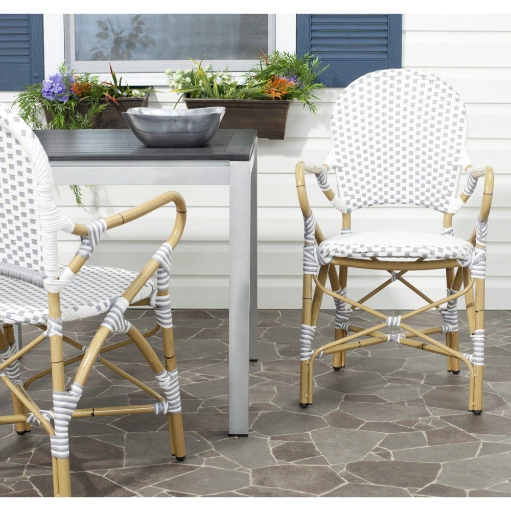 Safavieh Home Collection Hooper Grey & White Indoor-Outdoor Stacking Arm Chair