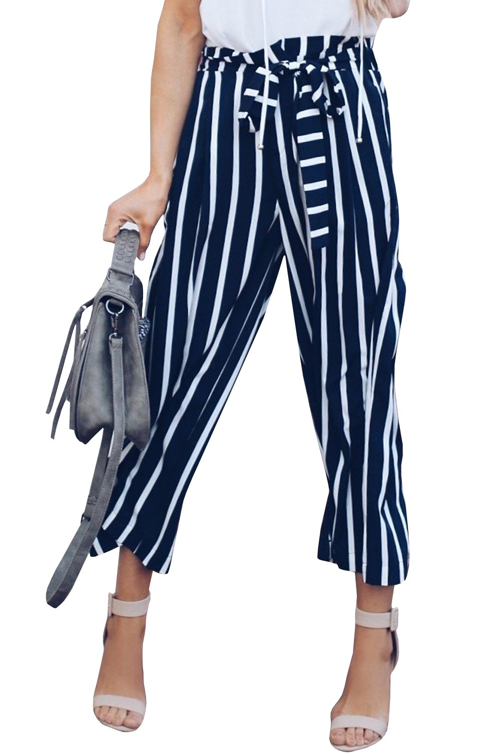 JeanewPole1 Womens Striped High Waist Wide Leg Loose Flowy Palazzo Belted Pants