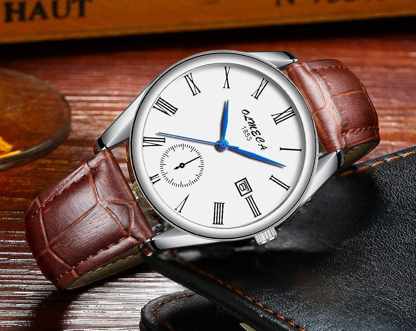 OLMECA Relojes Hombre Moda de Lujo Reloj de Pulsera de Cuarzo Cronógrafo Impermeable con Cuero, Relojes de Acero Inoxidable para Hombres.
