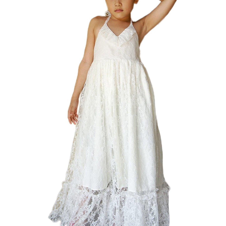 5d7319c4620 Amazon.com  WDE Halter Maxi Bohemian Flower Girls Dresses Summer Beach  Wedding Party  Clothing