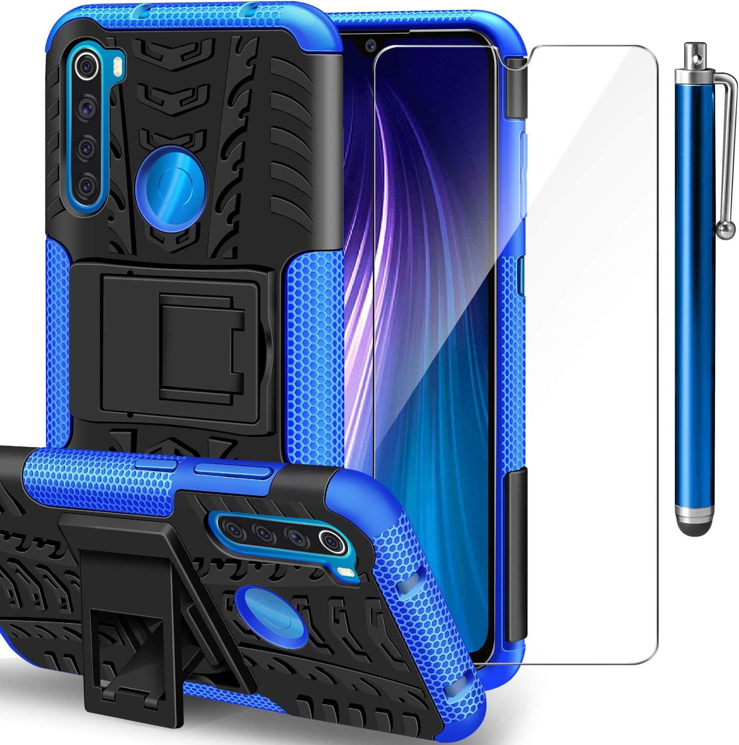 AROYI Funda Xiaomi Redmi Note 8 + Protector de Pantalla, Redmi Note 8 2 en 1 Duro PC Funda y Soft TPU Cáscara de Cubierta Protectora de Doble Funda Caso para Xiaomi Redmi Note 8 Azul