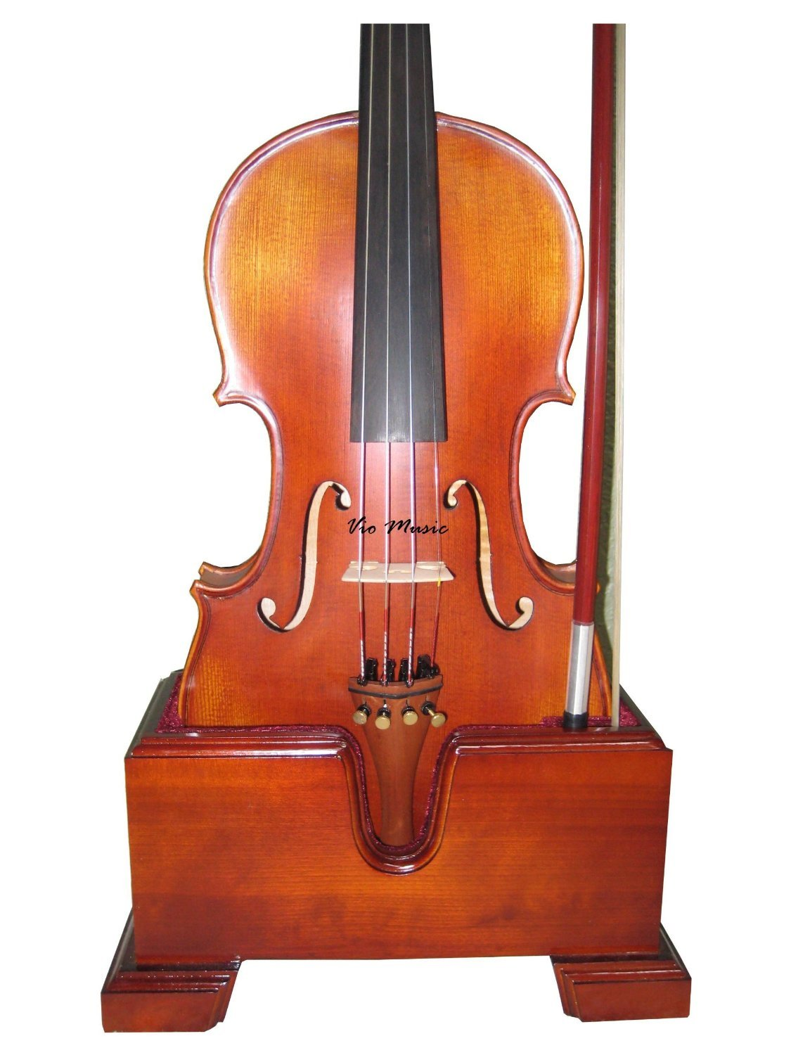 Vio Music 15''-16.5'' Viola and Bow Wooden Holder (Stand), Plush Velvet, Safe and Stronghold