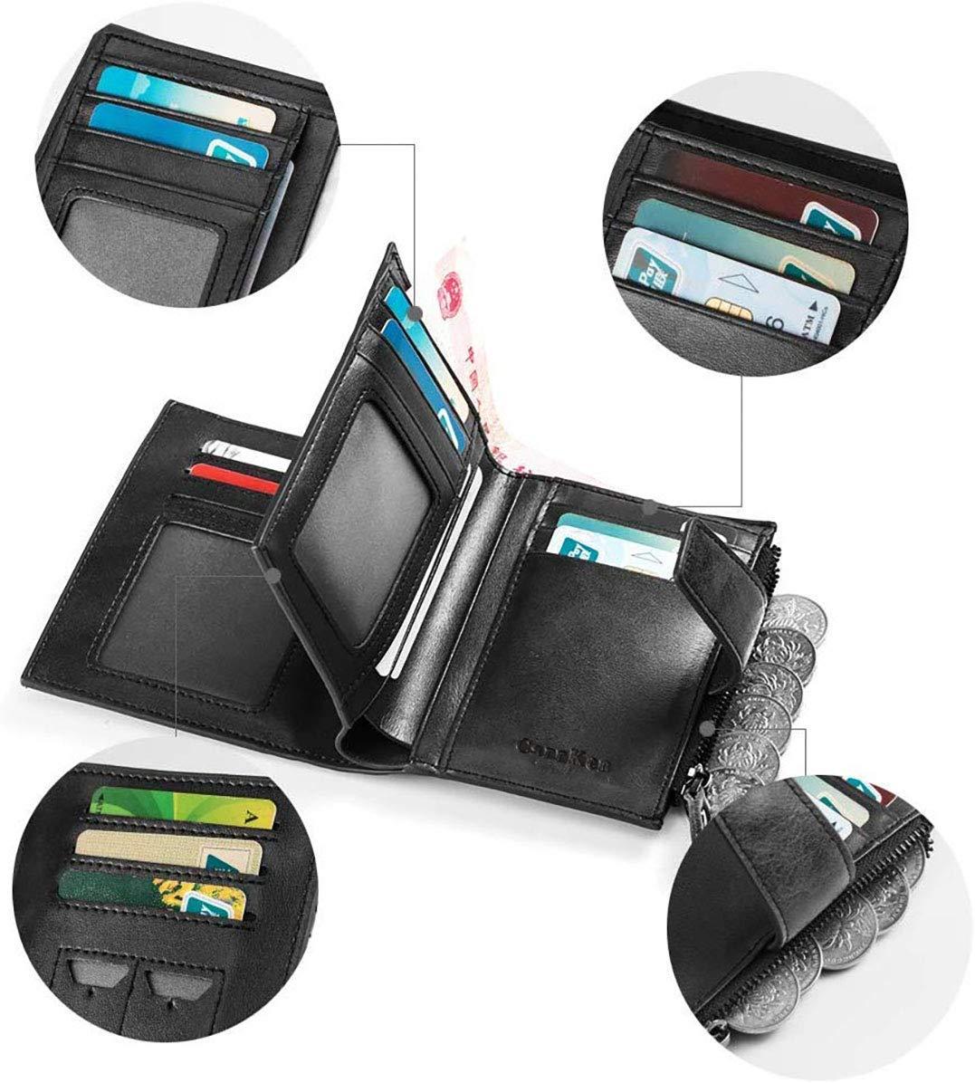 Portefeuille pour Hommes en PU avec RFID bloquant Un Porte-Cartes de cr/édit avec Porte-Cartes de cr/édit avec Poche /à Monnaie zipp/ée pour Hommes(H-7)