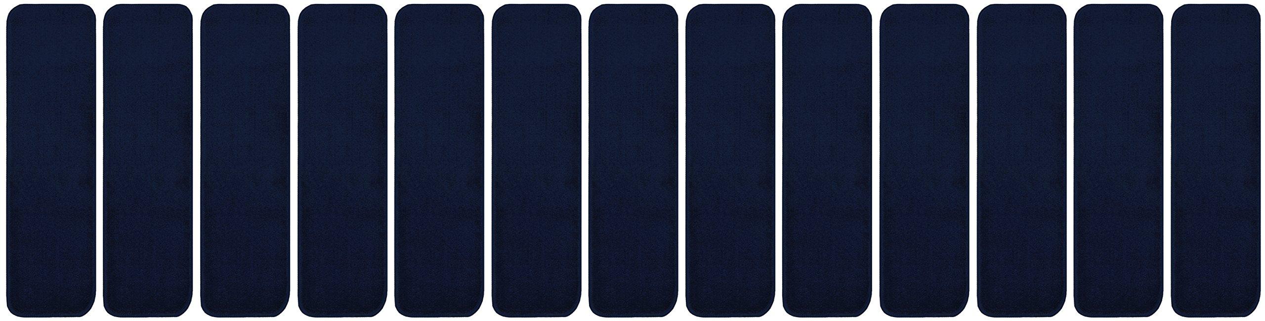 RugStylesOnline TRENDY-ST-8X30-NAVY-13 Trendy Stair Tread Treads Indoor Skid Slip Resistant Carpet Stair Tread Treads Machine Washable 8 ½'' W x 30'' L, Royal Navy Blue, Set of 13