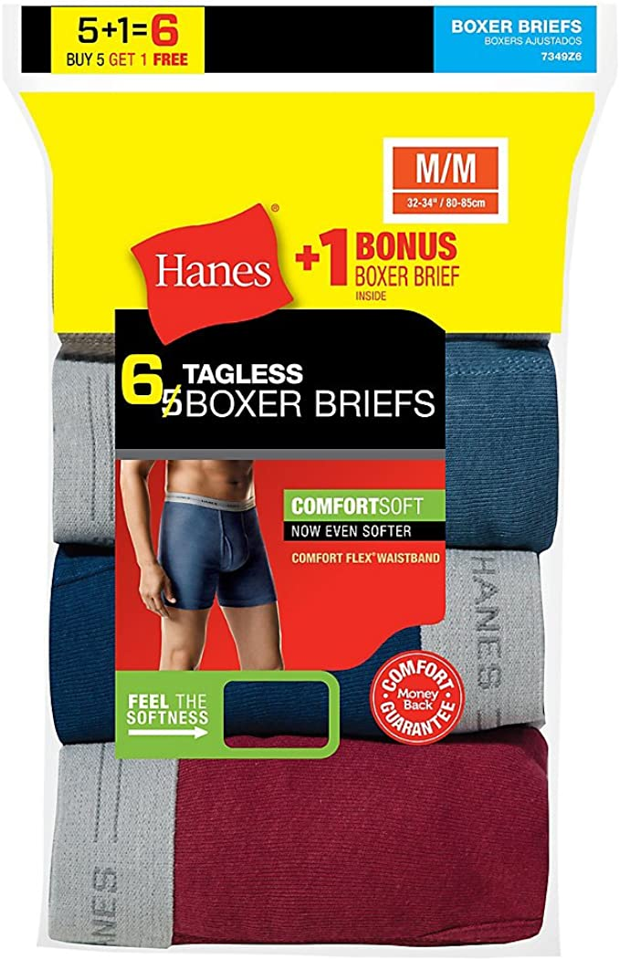 Hanes Mens 5-Pack Best Tagless Boxer Brief with Comfort Flex Waistband M
