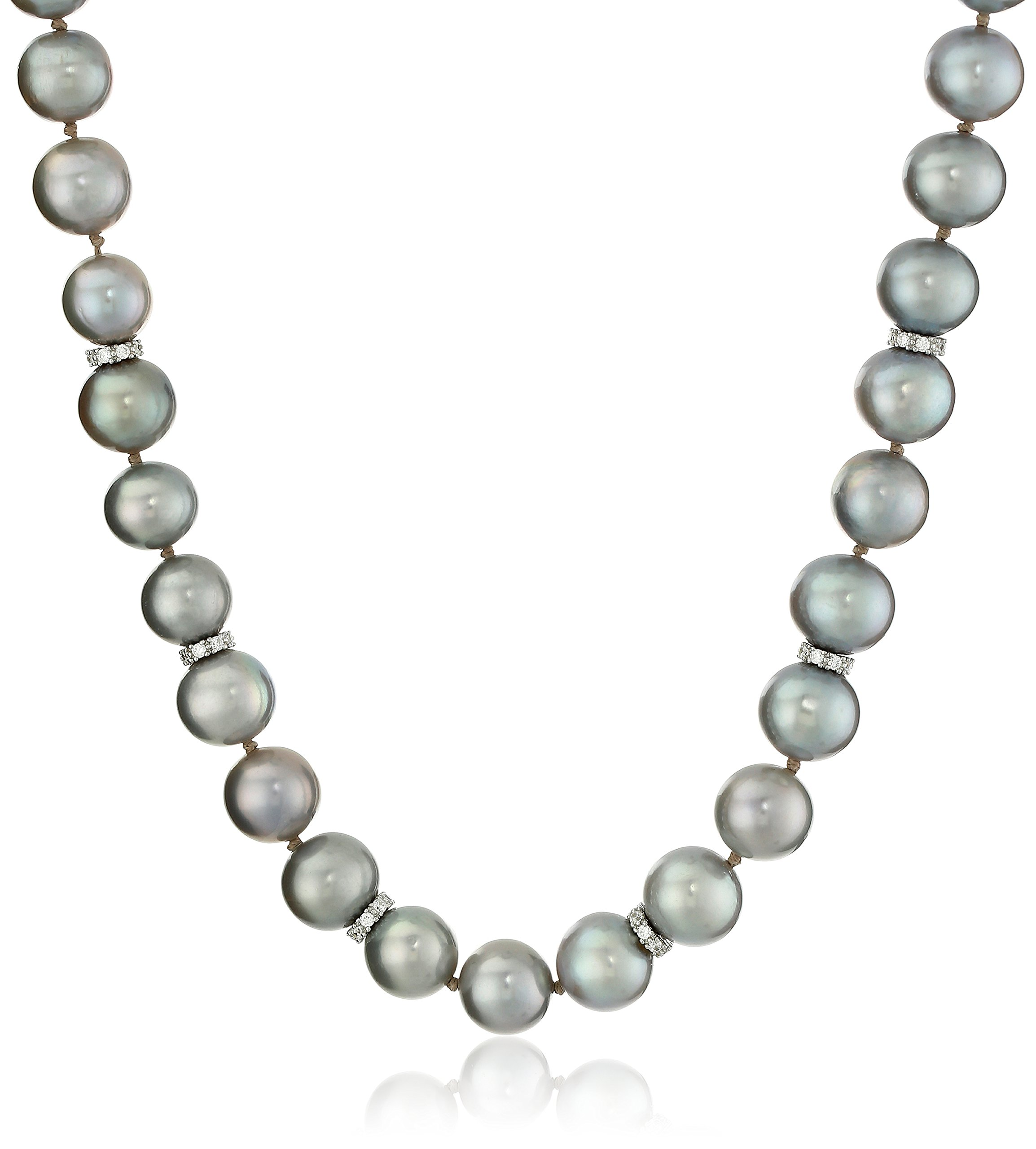 Sterling Silver 10-11mm Dyed Grey Freshwater Cultured Pearl Strand with 2mm Cubic Zirconia, 18''