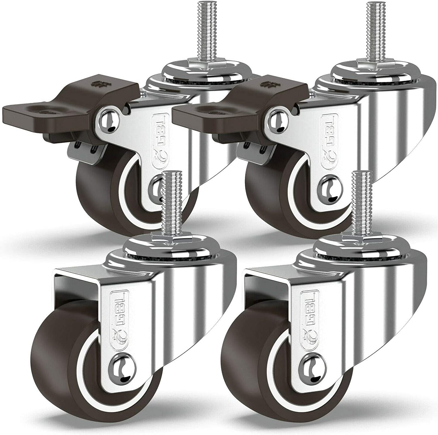 GBL - 1'' Small Caster Wheels | Stem Threaded M6x15mm 90Lbs | Low Profile | Dolly Wheels for Furniture Trolley Brake Hardwood Floors