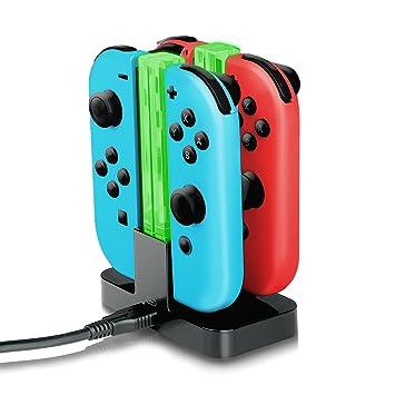 Amazon.com: joy-con Cargador, yocktec Nintendo Interruptor ...