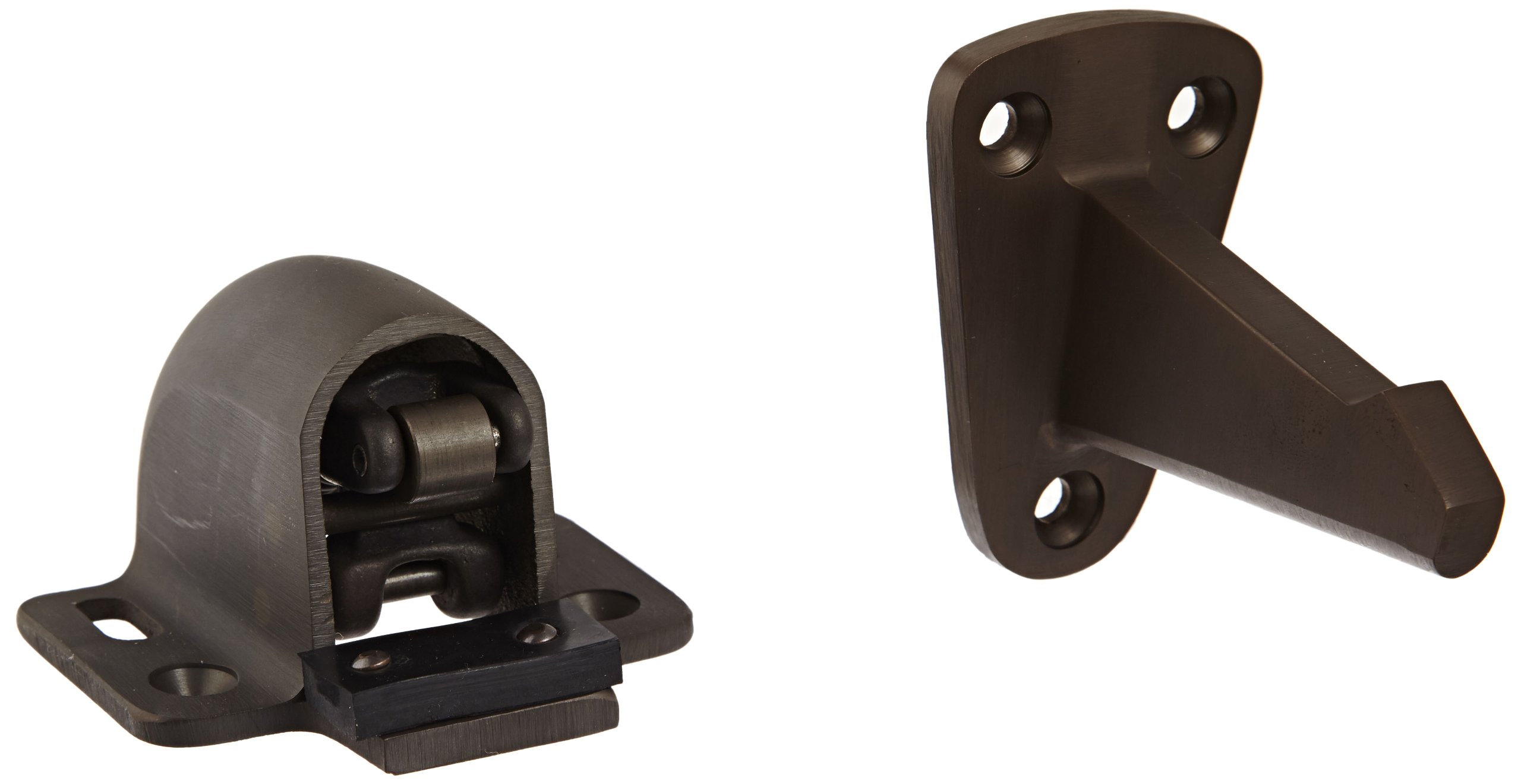 Rockwood 494R.10B Bronze Wall Mount Automatic Door Holder with Stop, Satin Oxidized Oil Rubbed Finish, 3-3/4'' Wall to Door Projection, Includes Fasteners for Use with Solid Wood Doors and Masonry Walls