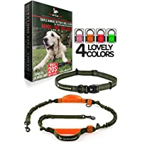 Pet Dreamland Hands Free Leash - For One/Two Medium to Large Dogs (up to 150lbs) - Running/Hiking/Dog Training - Heavy Duty Extra Long Bungee Lead - Waist Leashes for Dogs