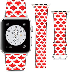 Compatible with Apple Watch Wristband 42mm 44mm, (Canada Maple Leaf) PU Leather Band Replacement Strap for iWatch Series 5 4 3 2 1