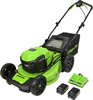 Greenworks 2 x 24V (48V) 20-Inch Brushless Self-Propelled Mower, (2) 5Ah USB Batteries and Dual Port Rapid Charger, MO48L4211