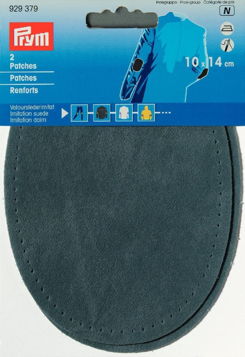 Patch in pelle scamosciata sintetica, 14 x 10 cm, hellgrau, 2 Stück PRYM