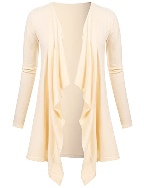 b9e8c034b5103 UNibelleWomen s Solid Lightweight Knitted Open Front Long Trench Coat  Cardigan